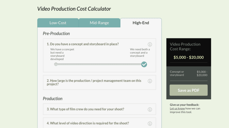 Video Production Cost Calculator